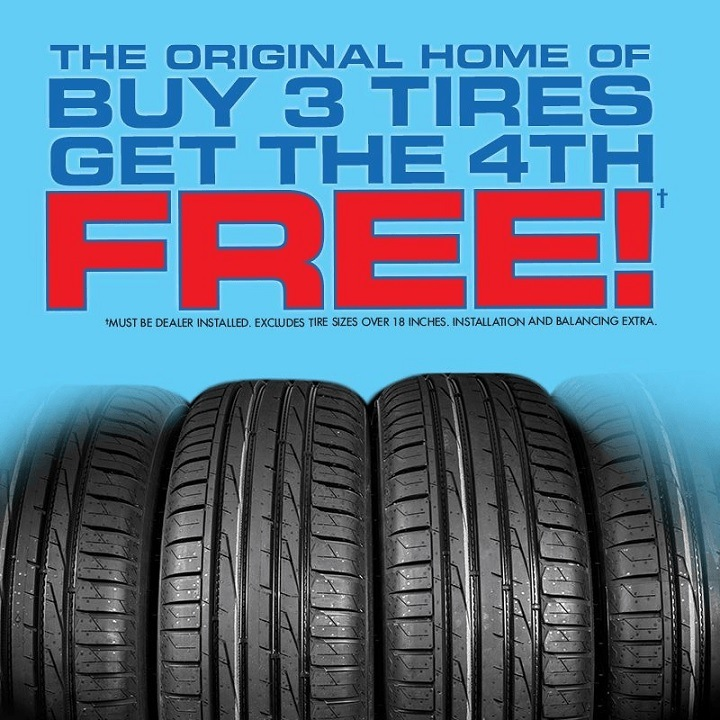 Buy 3 Tires and get the Fourth One Free Rocky Mountain Dodge Alberta Red Deer Sylvan Lake